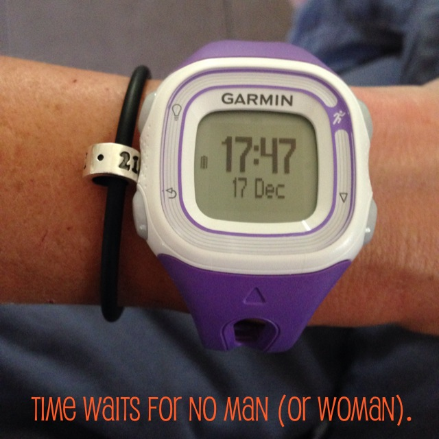 Time waits for no man garmin forerunner 10 purple pandora run bracelet 21.1